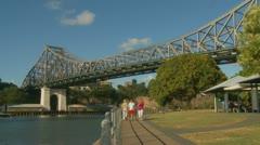 Brisbane bridge (zoom in) Stock Footage
