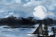 Ghost ship under full moon Stock Illustration