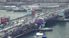 Istanbul Galata Bridge in Winter Stock Footage