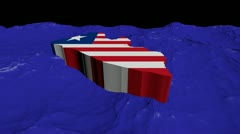 Liberia map flag in abstract ocean animation Stock Footage