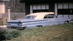 Pontiac 1960 Parisienne Parked In Front Of Home-Vintage 8mm film Stock Footage