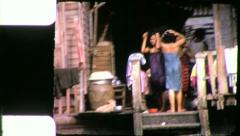 GIRLS BATHE Riverside Life Bangkok Thailand 1970s Vintage Film Home Movie 4270 Stock Footage