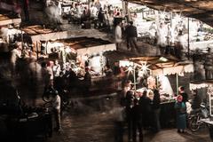 the jema el fna square in marrakesh, morocco - stock photo