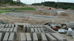 Concrete road and pavement parts road construction site cars Stock Footage
