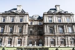 The luxembourg palace in beautiful garden, paris, france Stock Photos