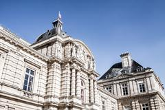 the luxembourg palace in beautiful garden, paris, france - stock photo
