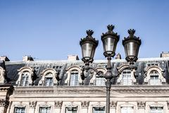 parisian architecture in autumn time - stock photo