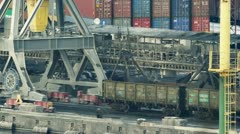 Port cranes unloads cars with coal timelapse Stock Footage