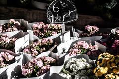 Stock Photo of flower shop arrangement outside a shop in paris