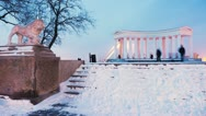 Colonnade near the Vorontsov Palace in winter timelapse, 4K Stock Footage