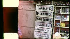 Carnaby Piccadilly Soho Street Signs LONDON 1970s (Vintage Film Home Movie) 4284 - stock footage