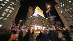 New York City Manhattan midtown time lapse crowd walking fast timelapse - stock footage