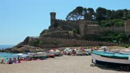 Stock Video Footage of Beach and castle in Tossa de Mar, Costa Brava, Catalonia, Spain