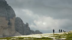 People trekking in high mountain Stock Footage