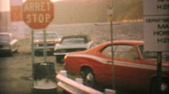 Cars Boarding Ferry In Northern Canada-1969 Vintage 8mm film Stock Footage