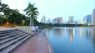 Benjakit Park  and city views. Stock Footage