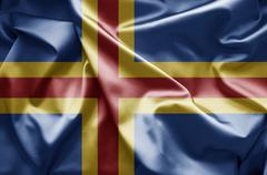 aland islands flag - stock illustration