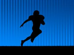 american football background blue - stock photo