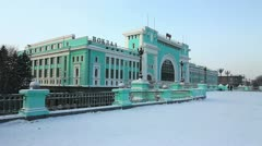 Central Station in winter, Novosibirsk, Russia Stock Footage