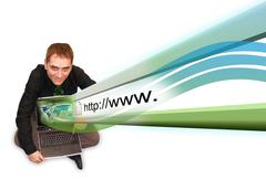 Man on laptop with internet projection Stock Photos