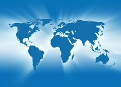 Blue travel earth map glowing Stock Photos