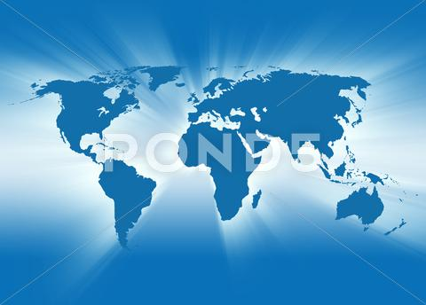 Stock photo of blue travel earth map glowing