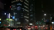 Heavy traffic in downtown by night, Seoul, South Korea Stock Footage