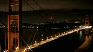 Stock Video Footage of San Francisco Golden Gate Bridge at night with a star filter lens efx