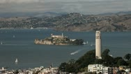 Stock Video Footage of San Francisco Alcratraz, Coit Tower & Transamerica Building landmarks