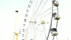 Stock Video Footage of Ferris Wheel at a downtown amusement park in Amsterdam. Holland