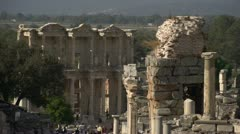 History & culture, Ephesus ruins, The library of Celsus long shot with pillars Stock Footage