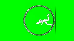 Man runs in a hamster wheel (Vertical) Stock Footage
