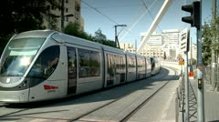 City Train of Jerusalem next to The string Bridge 1 Stock Footage