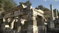 History & culture, Ephesus ruins, temple walls corner Stock Footage