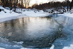 Frozen banks of forest pond at winter Stock Photos