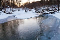 icebound banks of forest pond - stock photo