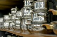 Stainless steel pots Stock Photos