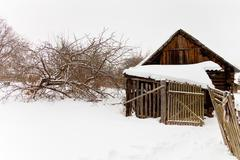 Abandoned wooden shed in snow-covered village Stock Photos
