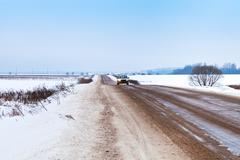 Stock Photo of snow country road