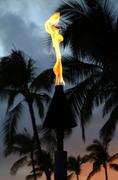 Sunset tiki torch Stock Photos