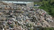 Stock Video Footage of Bulldozer on landfill