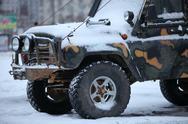 Suv in  snow Stock Photos