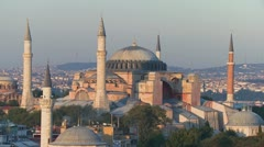 The Hagia Sophia Mosque in Istanbul, Turkey, at dusk. - stock footage