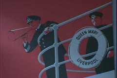 Cunard White Star ship poster of The Queen Mary, ring buoy and steward Stock Footage