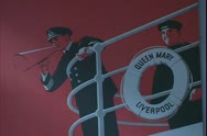Stock Video Footage of Cunard White Star ship poster of The Queen Mary, ring buoy and steward