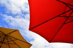 Beach umbrellas Stock Photos