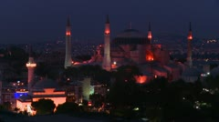The Hagia Sophia Mosque in istanbul, Turkey at dusk or night. Stock Footage
