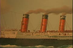 Painting of a grand four stack steam ship ocean liner of the Cunard Line - stock footage
