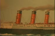 Stock Video Footage of Painting of a grand four stack steam ship ocean liner of the Cunard Line