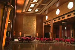 The Queen Mary in Long Beach, California, pan shot, art deco grand lounge Stock Footage